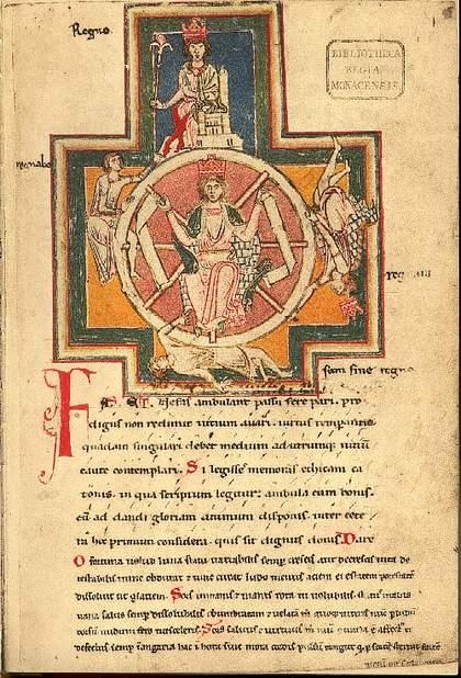 Titulní list Codexu Buranus s vyobrazením kola šťěstí (archív Bavorské štátní knihovny).