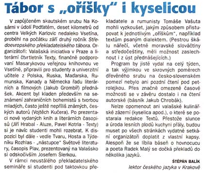 T&#225;bor s &#8222;o&#345;&#237;&#353;ky&#8220; a kyselicou
