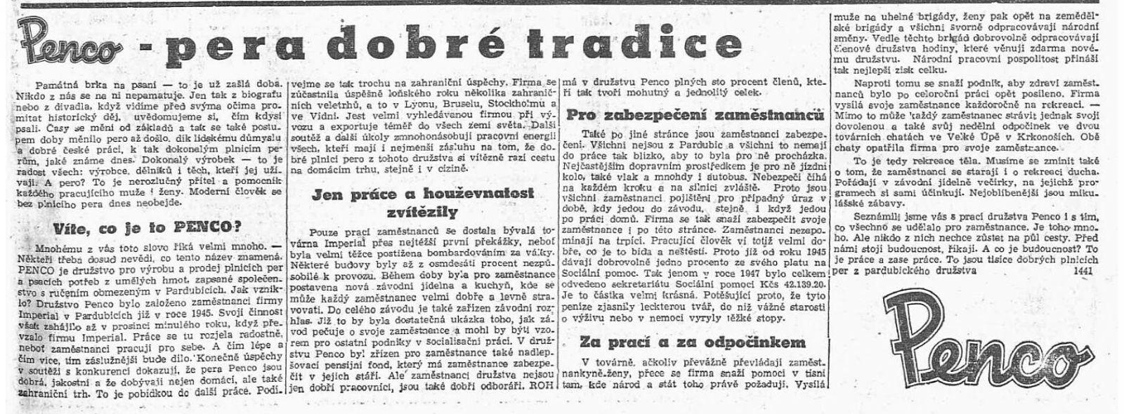 Penco - pera dobré tradice (Svobodné slovo, 28. 04.1948, s. 5)